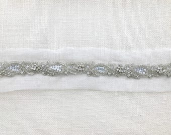 Beaded Rhinestone Bridal Sash Belt Trim - 18 inches - SI003