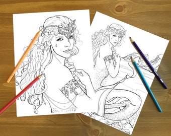 Coloring Pages, Adult Coloring, Queen of the Sea, Mermaid Coloring, Adult Coloring Page, Mermaid Art, Line Art, printable, download