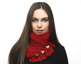 Hand Knit Red Scarf,  Neck Warmer, Cowl, Heart shaped buttons, Knit Accessories by Solandia. Winter fashion love romantic gift