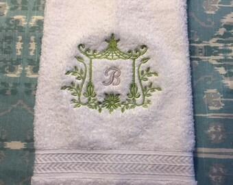 Pagoda Monogramed Hand Towel