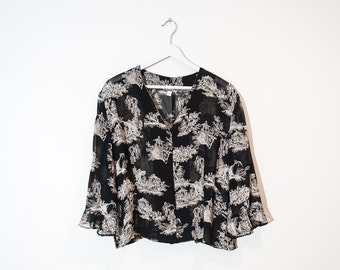 on sale - sheer black & beige tapestry blouse / bell sleeve button-up top / size L / XL