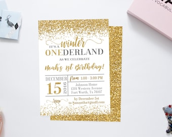 Winter onederland invitation girl, winter onederland party, winter onederland birthday, winter wonderland invitations, glitter invitation