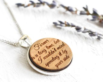 Custom Quote Necklace - Engraved Message Necklace Song Lyrics Favorite Book Film Quote - Romantic Gift For Her Fifth Anniversary Gifts