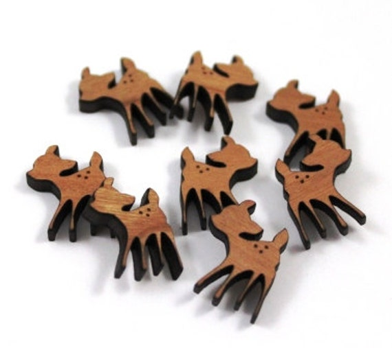Laser Cut Supplies-8 Pieces.Fawn Charms -Cherry Wood Laser Cut Wood Fawn -Earring Supplies- Little Laser Lab Sustainable Wood Products
