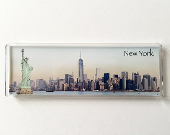 Panoramic Fridge Magnet of the New York skyline and Statue of Liberty, Freedom Tower.