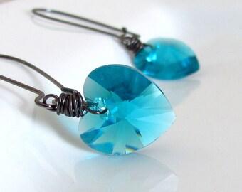 Blue Zircon Valentine Heart Earrings, Dark Green Swarovski Crystal and Gunmetal Wrapped Hearts