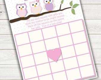 Baby Shower Bingo Card Game Pink Owl~Printable~INSTANT DOWNLOAD