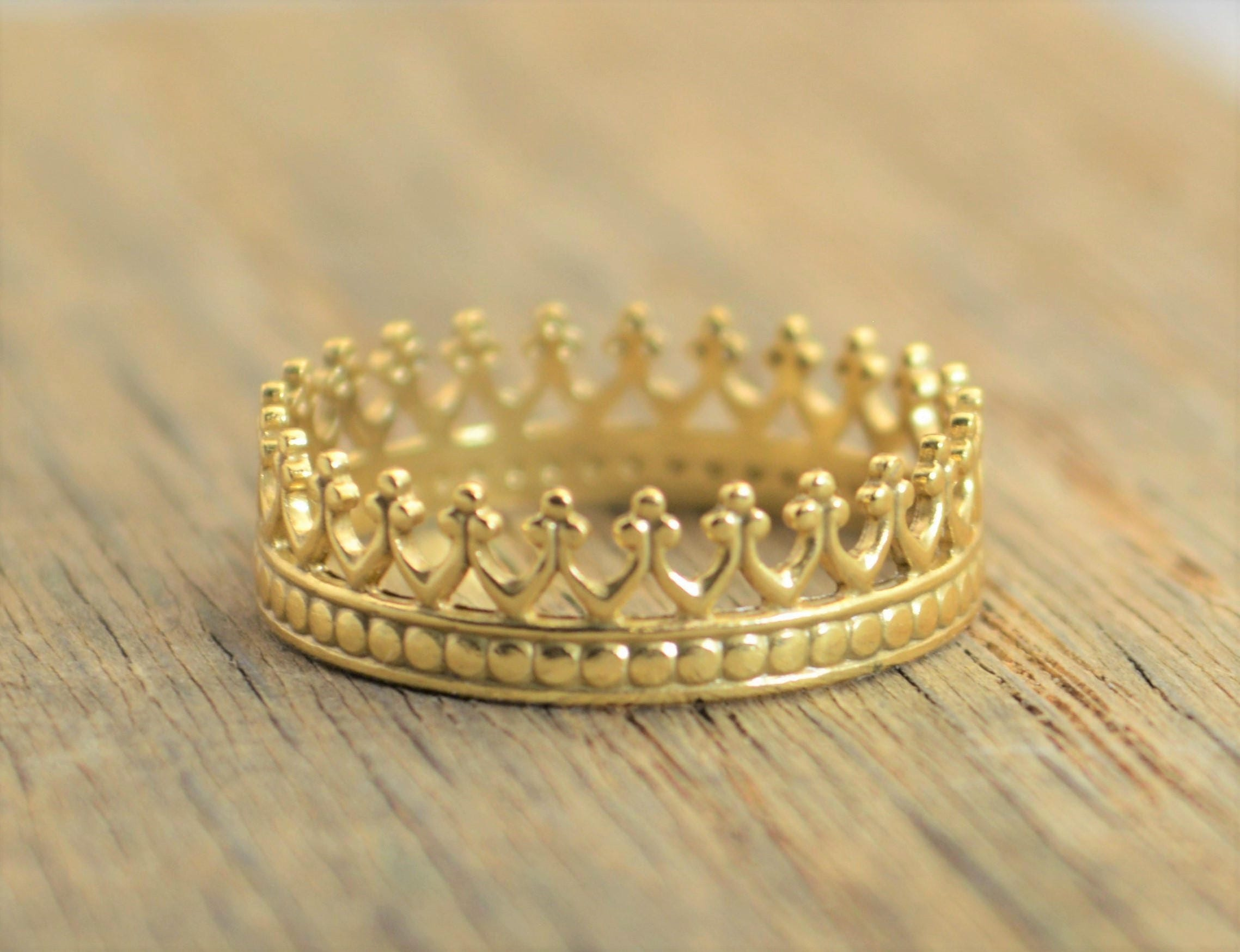 rings solid quinceanera pin band ring gold yellow jewelry sweet crown birthday cz anos