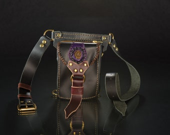 Leather Hip Bag, Belt Bag, Festival Pouch with Ammonite
