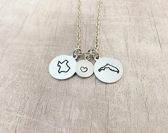 Best Friend Gift - Two State Necklace - Best Friend - State Jewelry