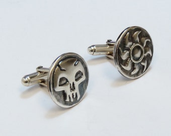 Magic The Gathering Inspired Cufflinks with Black and White Mana symbols