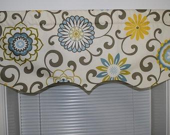 Scalloped Valance 52 x 16, 50 x 16 lined window valance decorative valance Waverly Pom Pom Play Spa Kitchen Valance Design by HomeandHome