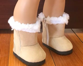 Tan Doll boots with white fur trim, 18 inch doll boots, American Doll fur trimmed boots, Girl Doll Boots, 18 inch doll Tan fur boots, RTS