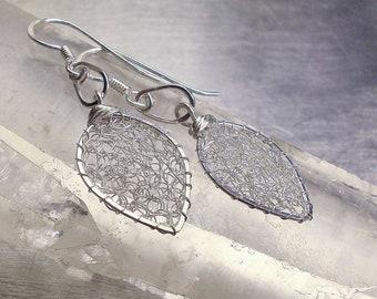 Sterling Silver Leaves Earrings, Wire Crochet Dangle Earrings