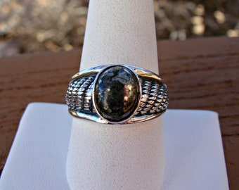 70% OFF Going Out of Business Sale.. Last One. size 9.5 Bold Rope with Pyrite Cabochon- Sterling Silver Ring