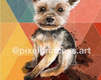 Yorkie Yorkshire Terrier Dog Portrait Art