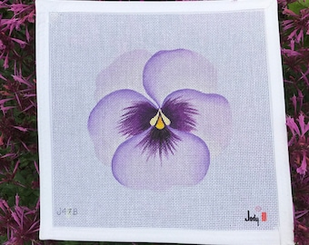 Light Purple Pansy Needlepoint Canvas Jody Designs #J47B