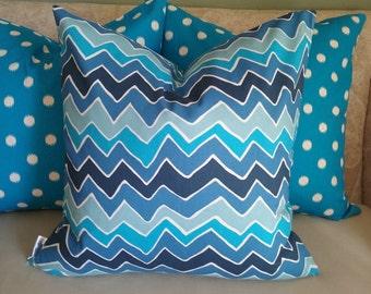 Blue pillow cover, blue chevron pillow, azure blue, chevron, blue chevron, pillow cover, home decor, accent pillow, decorative pillow