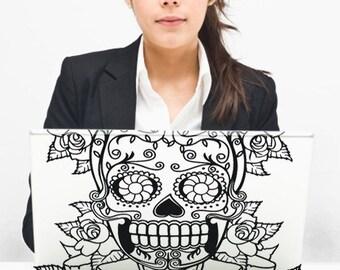 sugar skull laptop decal sticker art, custom fit, macbook, pc, FREE SHIPPING
