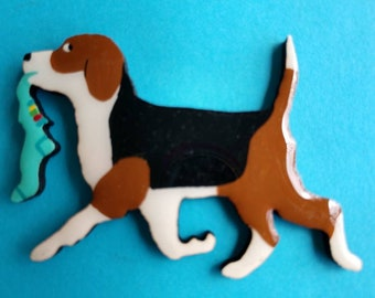 Beagle Pin, Magnet or Ornament-Free Shipping-Hand Painted