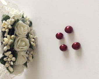 Button dark red color, approximately 8 mm beads