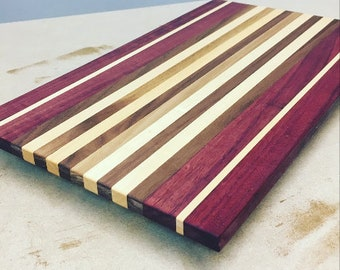 Purple Heart, Cherry & Walnut Cutting Board