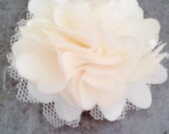 Pretty Ecru tulle and organza fabric flower