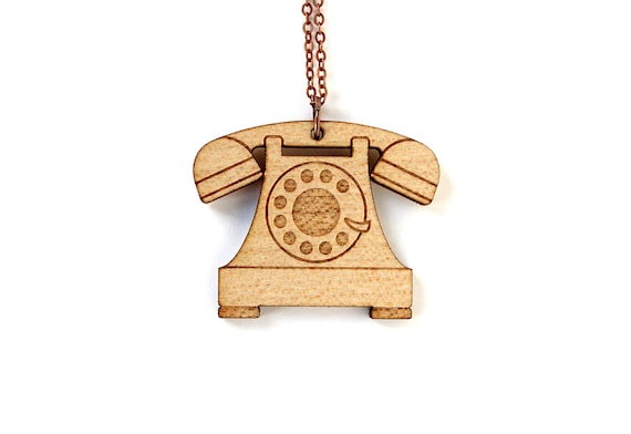 Retro phone necklace - vintage telephone pendant - graphic lasercut jewelry - maple wood - nostalgic geek - technology jewellery