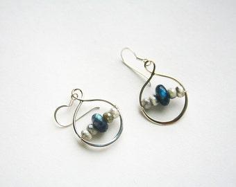 Silver Infinity Earring, Sterling Silver, Gemstone Jewelry, Blue Earrings