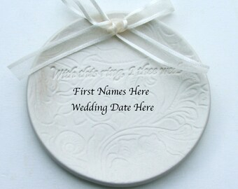 """Personalized Porcelain wedding ring dish, Custom Made with Names and Date, """"With This Ring I Thee Wed"""" Lacy Background ,Ceramic plate"""