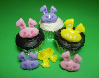 12 Easter Bunny Spring Cupcake Rings Toppers Party Favors Decorations