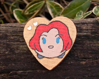 Marvel Avengers Black Widow Natasha Romanoff Infinity War Tsum Tsum - Custom Hand Painted Wooden Pin - Badge Button Feminist Gift