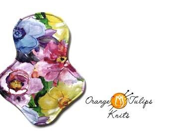 "Cloth Pad 9"" MODERATE Aqua Flowers"