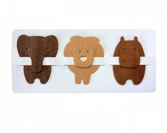 Natural Wood Animal Bookmarks, Elephant, Tiger and Hippo Set!
