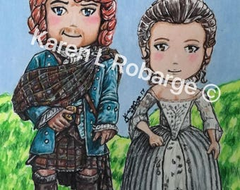 "My cartoon Jamie and claire 5"" x 7"" art print."