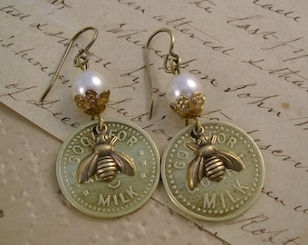 """Milk and Honey - Vintage Brass Dairy """"Good for One Quart Milk"""" Tokens Honey Bees Pearls Recycled Repurposed Jewelry Earrings"""