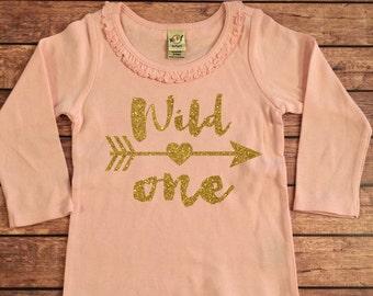 1st Birthday Shirt, Wild One Shirt, 1st Birthday Shirt, Birthday Girl Shirt, First Birthday Pink and Gold Top, Girl's 1st Birthday Shirt