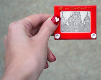 St. Basil's Cathedral Etch A Sketch Die Cut Sticker | St. Basil sticker | Russia Sticker | Tetris sticker | Red Square | cathedral sticker
