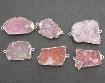 Druzy Pendant Freeform Pink Druzy Double Bail Pendant with Electroplated Silver Edge Small DDZ - (S100B21-03)