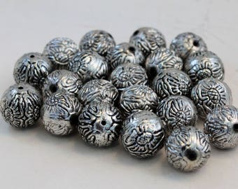 Sliver Plated CCB Acrylic Large Round Floral Pattern Beads, 20mm Rounds