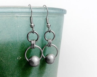 Stainless Steel Earrings, Hypoallergenic Jewelry. Beaded Dangle Earrings, Simple Chainmaille Pattern, Silver Earrings