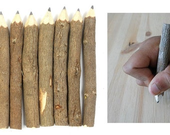 Branch And Twig Graphite Pencils 10 Count Approximately 3.5 Inches Long, Great Wood Pencils For Fun Drawing Or For Camping or Wedding Favor
