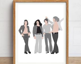 Led Zeppelin Print, Led Zeppelin Poster, Minimalist Art, 1970s, Music Art