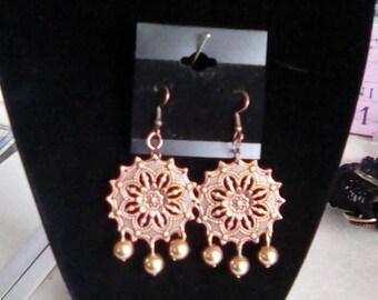 Copper toned filigree earrings