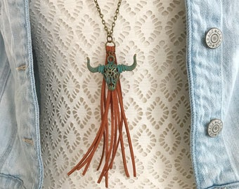 Tassel and Longhorn Necklace