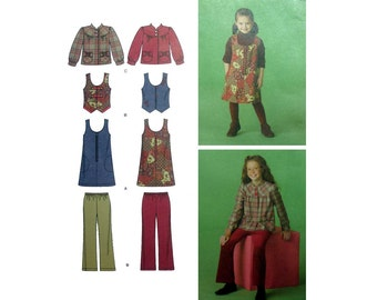 Girl's Sewing Pattern for Jumper, Vest, Jacket and Elastic Waist Cropped Pants Size 7, 8, 10, 12, 14 Uncut Simplicity 2484
