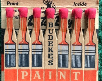 Vintage feature matchbook Budeke's Paint  O'Brien Paints Brushes Per-MA- Lite products