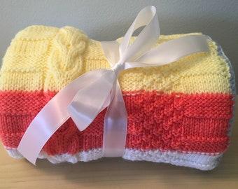 Hand Knit Yellow Orange White Blue Blanket/Stroller Blanket/Crib blanket/Christening/Baby Shower Gift