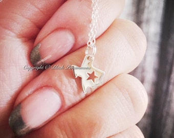 Texas with Star State Necklace No. 1 - Solid 925 Sterling Silver Charm Pendant - Insurance Included