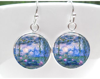 Monet Water Lily Earrings - Monet Water lilies Jewelry -Monet Waterlilies Earrings - Gift for Artist Gift for Painter
